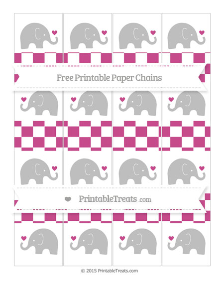 Free Mulberry Purple Checker Pattern Baby Elephant Paper Chains