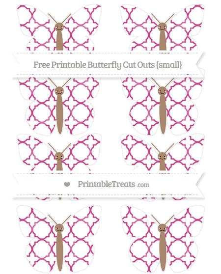 Free Mulberry Purple Quatrefoil Pattern Small Smiley Butterfly Cut Outs