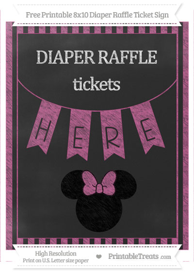 Free Mulberry Purple Striped Chalk Style Minnie Mouse 8x10 Diaper Raffle Ticket Sign