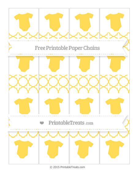 Free Mustard Yellow Quatrefoil Pattern Baby Onesie Paper Chains