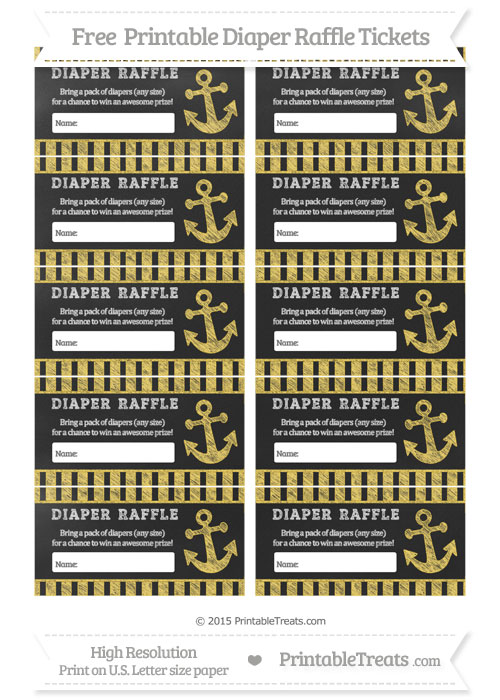 Free Mustard Yellow Striped Chalk Style Nautical Diaper Raffle Tickets