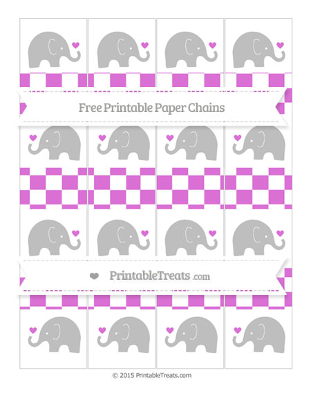 Free Orchid Checker Pattern Baby Elephant Paper Chains