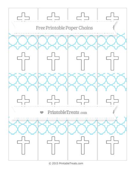 Free Pastel Aqua Blue Quatrefoil Pattern Cross Paper Chains