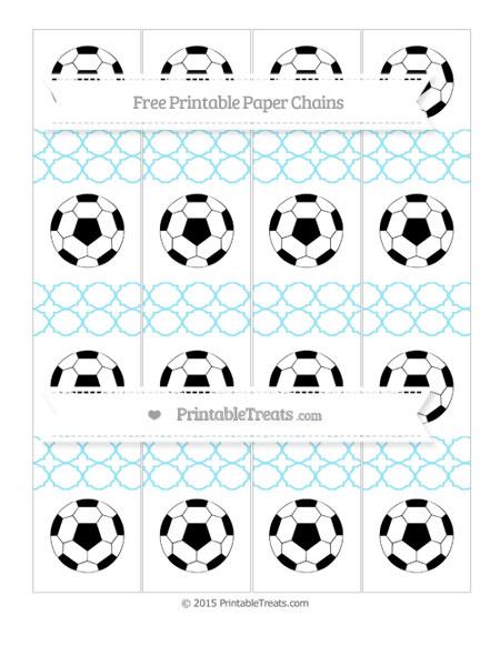 Free Pastel Aqua Blue Quatrefoil Pattern Soccer Paper Chains