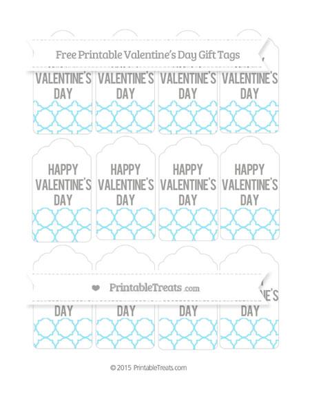 Free Pastel Aqua Blue Quatrefoil Pattern Valentine's Day Gift Tags