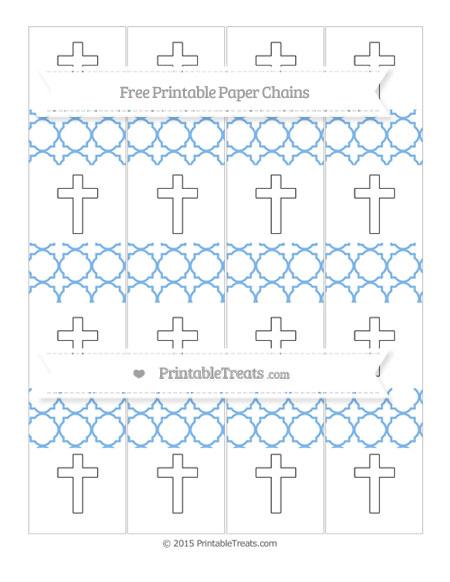 Free Pastel Blue Quatrefoil Pattern Cross Paper Chains