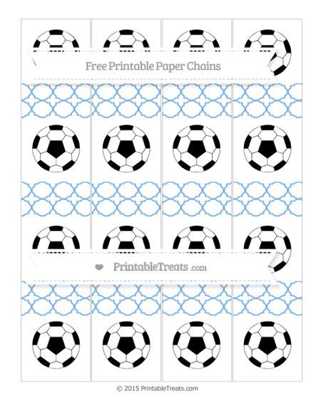 Free Pastel Blue Quatrefoil Pattern Soccer Paper Chains