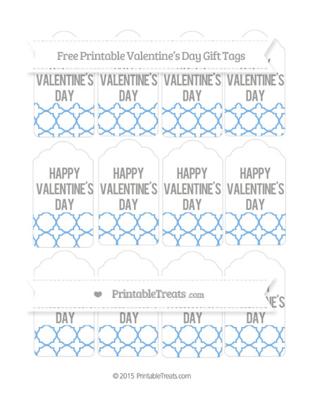 Free Pastel Blue Quatrefoil Pattern Valentine's Day Gift Tags