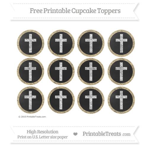 Free Pastel Bright Orange Chalk Style Cross Cupcake Toppers