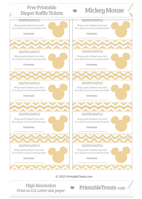 Free Pastel Bright Orange Chevron Mickey Mouse Theme Diaper Raffle Tickets