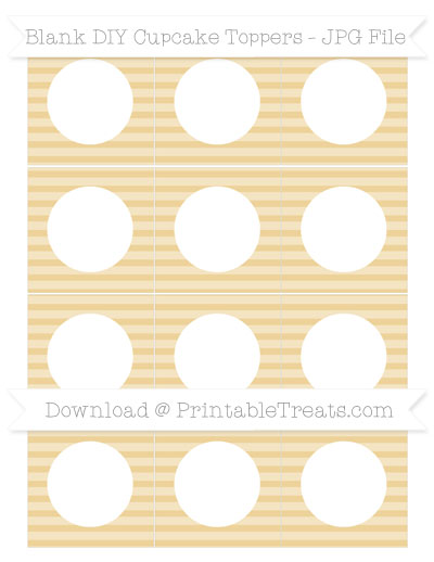 Free Pastel Bright Orange Horizontal Striped Blank DIY Cupcake Toppers