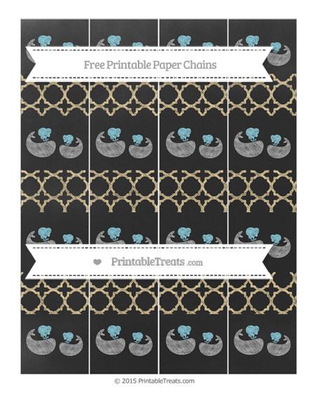 Free Pastel Bright Orange Quatrefoil Pattern Chalk Style Baby Whale Paper Chains