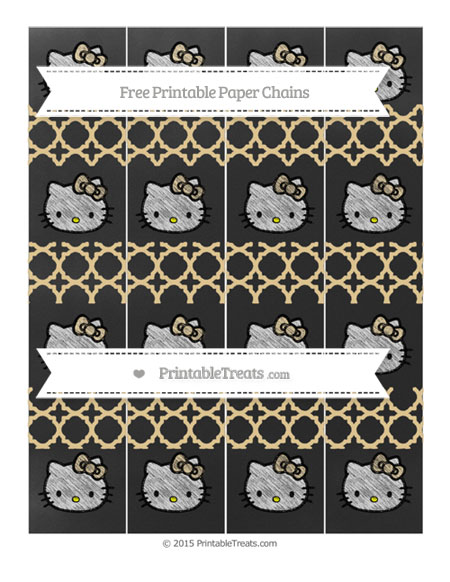 Free Pastel Bright Orange Quatrefoil Pattern Chalk Style Hello Kitty Paper Chains