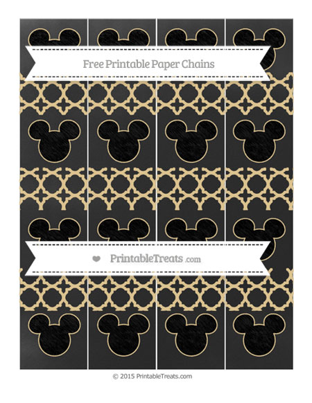 Free Pastel Bright Orange Quatrefoil Pattern Chalk Style Mickey Mouse Paper Chains