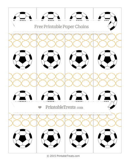 Free Pastel Bright Orange Quatrefoil Pattern Soccer Paper Chains