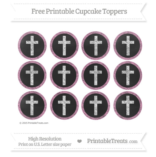 Free Pastel Bubblegum Pink Chalk Style Cross Cupcake Toppers