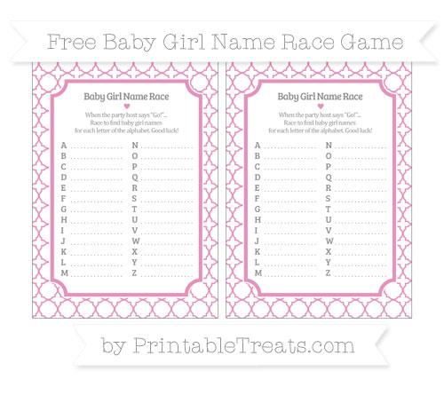 Pastel Bubblegum Pink Quatrefoil Pattern Baby Girl Name