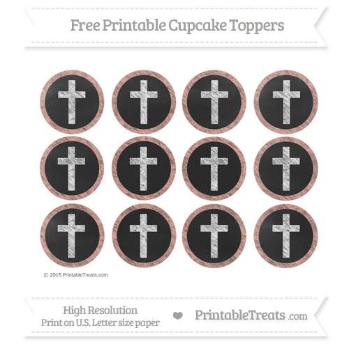 Free Pastel Coral Chalk Style Cross Cupcake Toppers