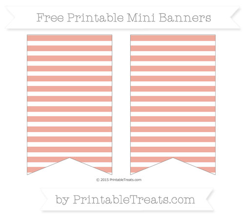 Free Pastel Coral Horizontal Striped On White Simple Mini Banners