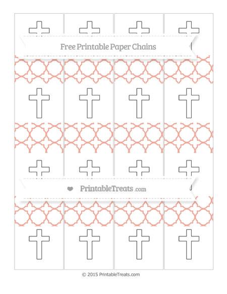 Free Pastel Coral Quatrefoil Pattern Cross Paper Chains