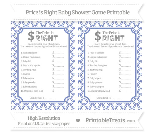 Pastel Dark Blue Fish Scale Pattern Price Is Right Baby Shower Game