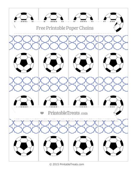 Free Pastel Dark Blue Quatrefoil Pattern Soccer Paper Chains