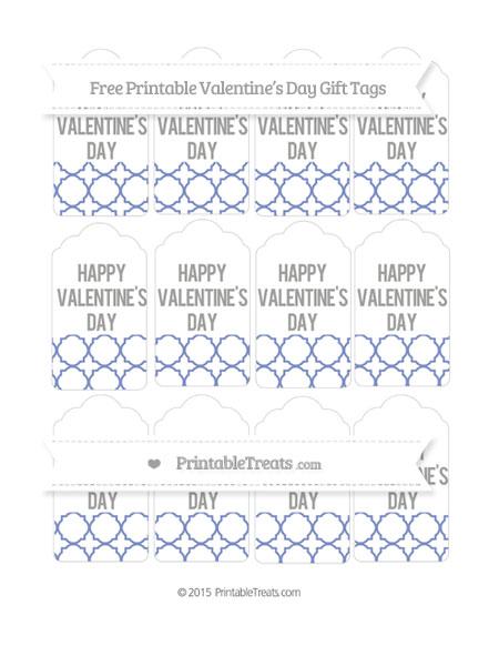 Free Pastel Dark Blue Quatrefoil Pattern Valentine's Day Gift Tags