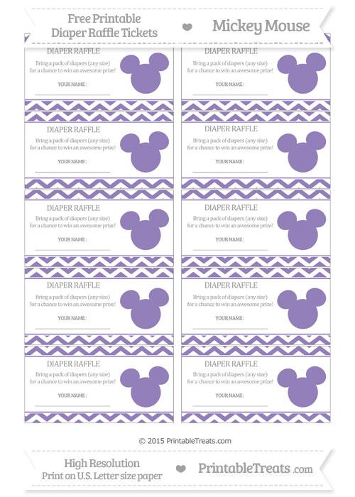 Free Pastel Dark Plum Chevron Mickey Mouse Theme Diaper Raffle Tickets