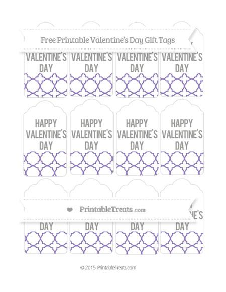Free Pastel Dark Plum Quatrefoil Pattern Valentine's Day Gift Tags