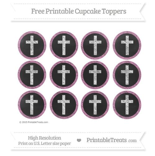 Free Pastel Fuchsia Chalk Style Cross Cupcake Toppers