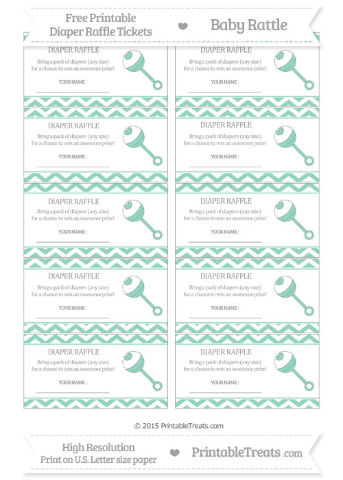 Free Pastel Green Chevron Baby Rattle Diaper Raffle Tickets
