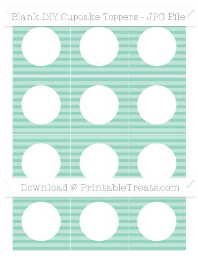 Free Pastel Green Horizontal Striped Blank DIY Cupcake Toppers