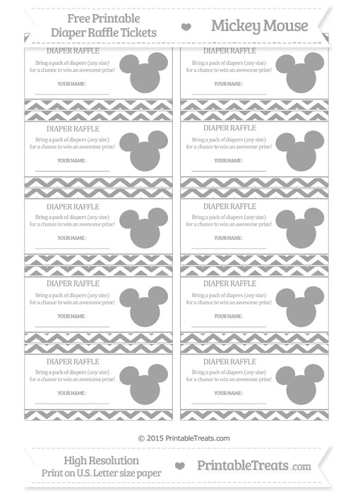 Free Pastel Grey Chevron Mickey Mouse Theme Diaper Raffle Tickets
