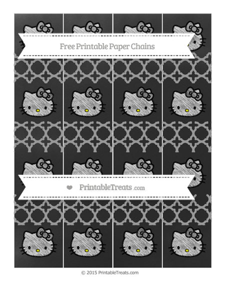 Free Pastel Grey Quatrefoil Pattern Chalk Style Hello Kitty Paper Chains