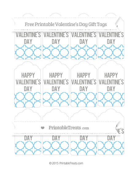 Free Pastel Light Blue Quatrefoil Pattern Valentine's Day Gift Tags