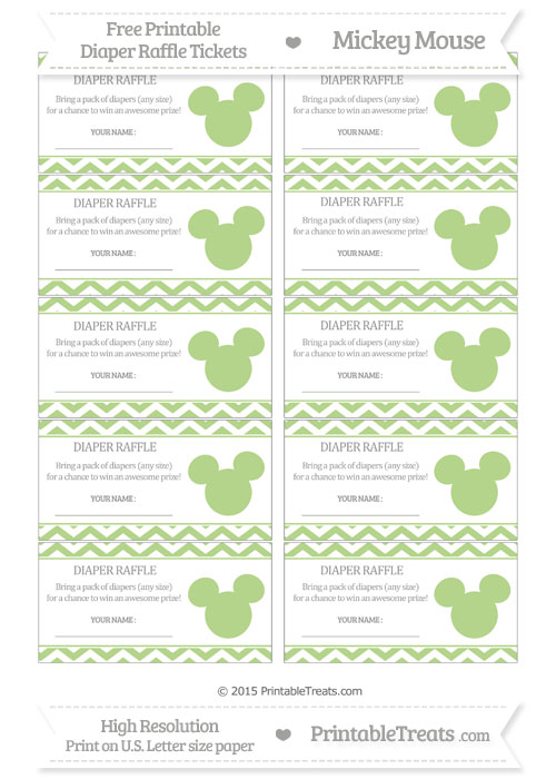 Free Pastel Light Green Chevron Mickey Mouse Theme Diaper Raffle Tickets