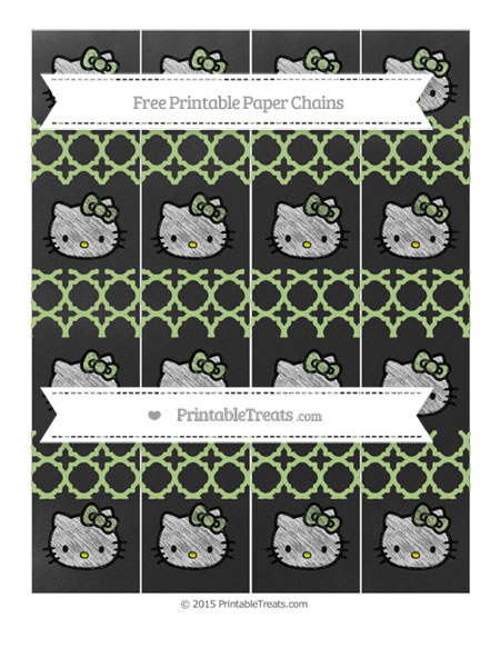 Free Pastel Light Green Quatrefoil Pattern Chalk Style Hello Kitty Paper Chains
