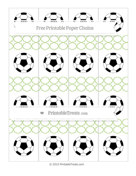 Free Pastel Light Green Quatrefoil Pattern Soccer Paper Chains