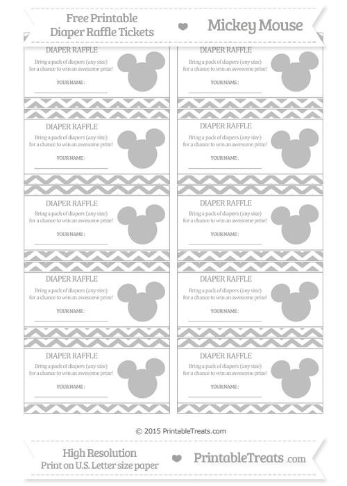 Free Pastel Light Grey Chevron Mickey Mouse Theme Diaper Raffle Tickets