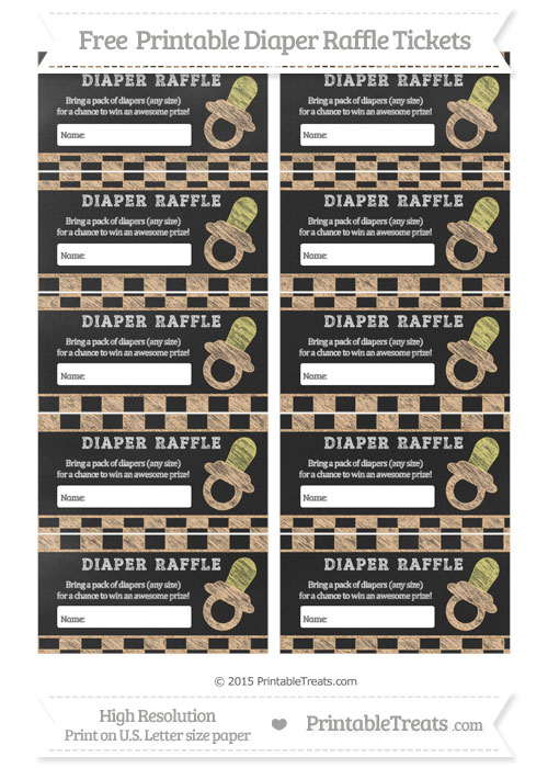 Free Pastel Light Orange Checker Pattern Chalk Style Baby Pacifier Diaper Raffle Tickets