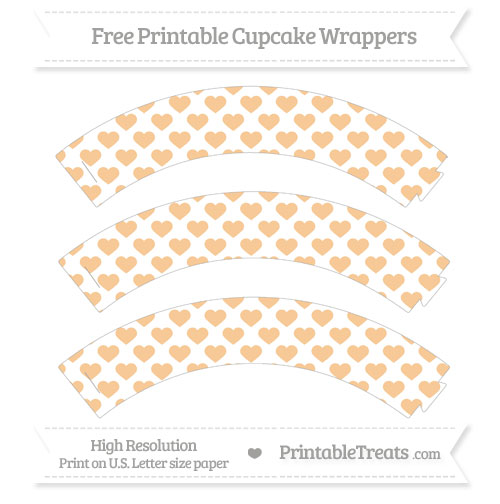 Free Pastel Light Orange Heart Pattern Cupcake Wrappers