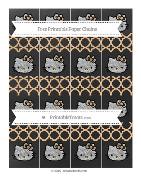 Free Pastel Light Orange Quatrefoil Pattern Chalk Style Hello Kitty Paper Chains
