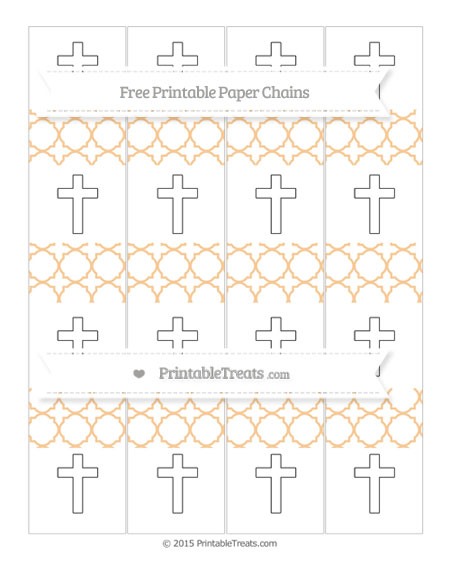 Free Pastel Light Orange Quatrefoil Pattern Cross Paper Chains