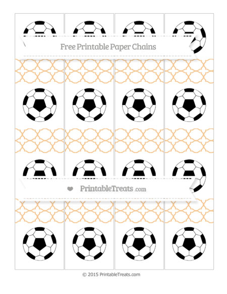 Free Pastel Light Orange Quatrefoil Pattern Soccer Paper Chains