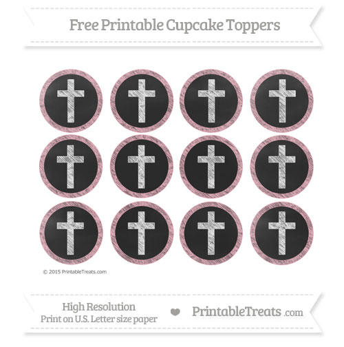 Free Pastel Light Pink Chalk Style Cross Cupcake Toppers