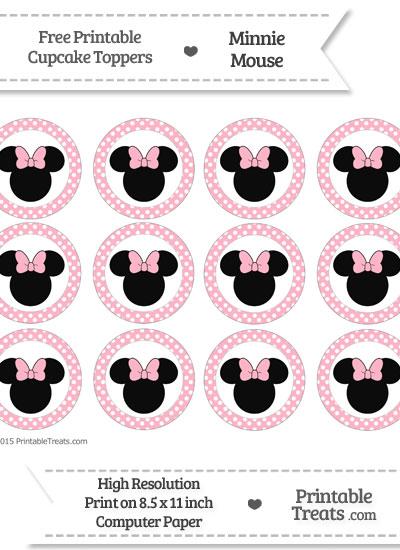 Free Pastel Light Pink Polka Dot Minnie Mouse Cupcake