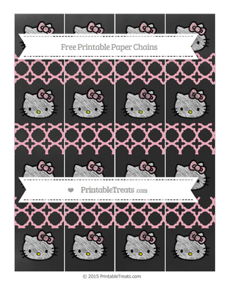 Free Pastel Light Pink Quatrefoil Pattern Chalk Style Hello Kitty Paper Chains