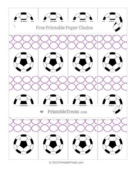 Free Pastel Light Plum Quatrefoil Pattern Soccer Paper Chains