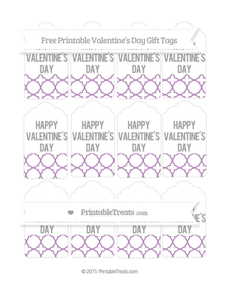 Free Pastel Light Plum Quatrefoil Pattern Valentine's Day Gift Tags