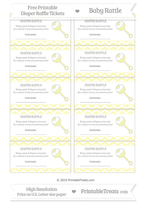 Free Pastel Light Yellow Chevron Baby Rattle Diaper Raffle Tickets